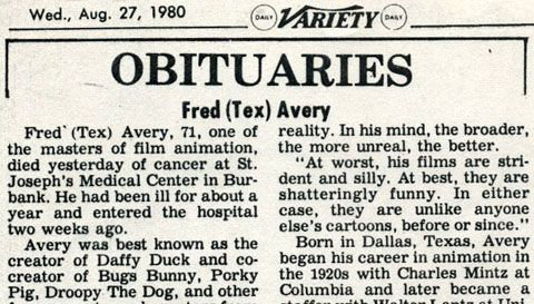 As we head into this heatwave (west coast)/hurricane (east coast) weekend, we pause to take note of the passing of Tex Avery 31 years ago today. (Click on obituary above … Continued
