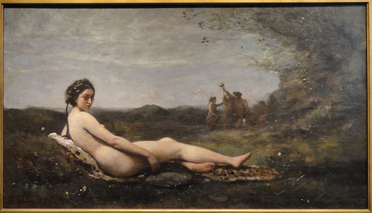 Jean-Baptiste-Camille Corot (French, 1796 -1875) Repose, 1860, reworked c. 1865-1870 oil on canvas 22-3/4 x 40 in. William A. Clark Collection Accession Number 26.41 Height: 84 cm (33.1 in). Width: 127 cm (50 in). Corcoran Gallery of Art