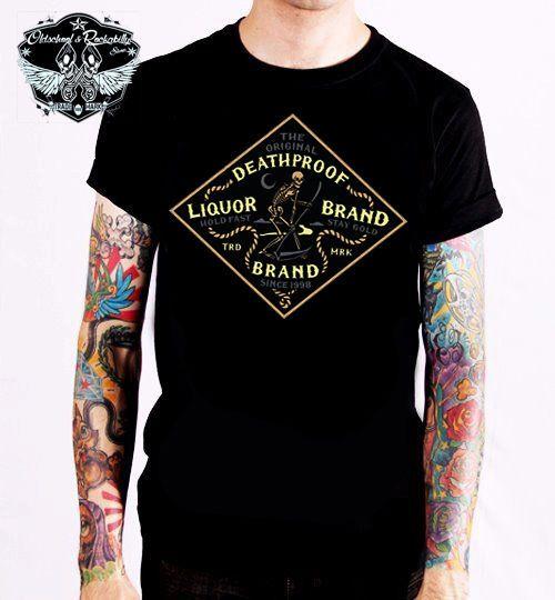 Liquor Brand T-Shirt Night Reaper.Tattoo,Biker,Oldschool,Rockabily,Custom Styles