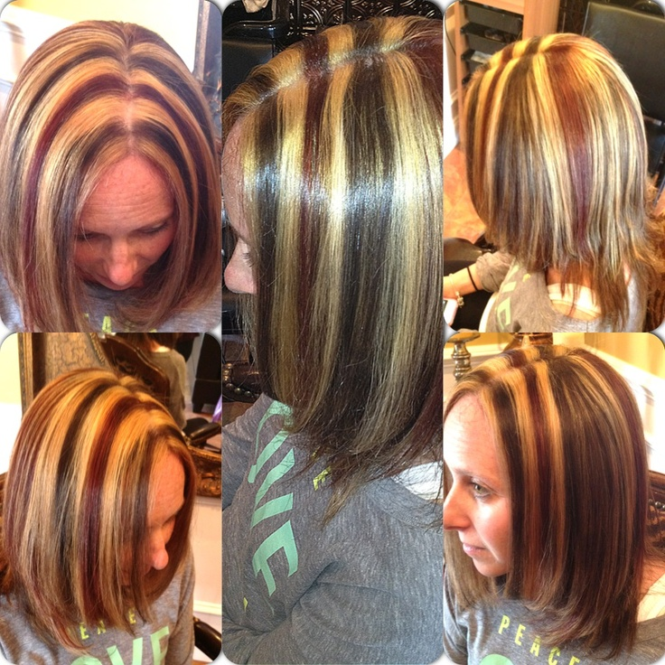 Multiple Color Highlights Hair Pinterest Of 3 Color