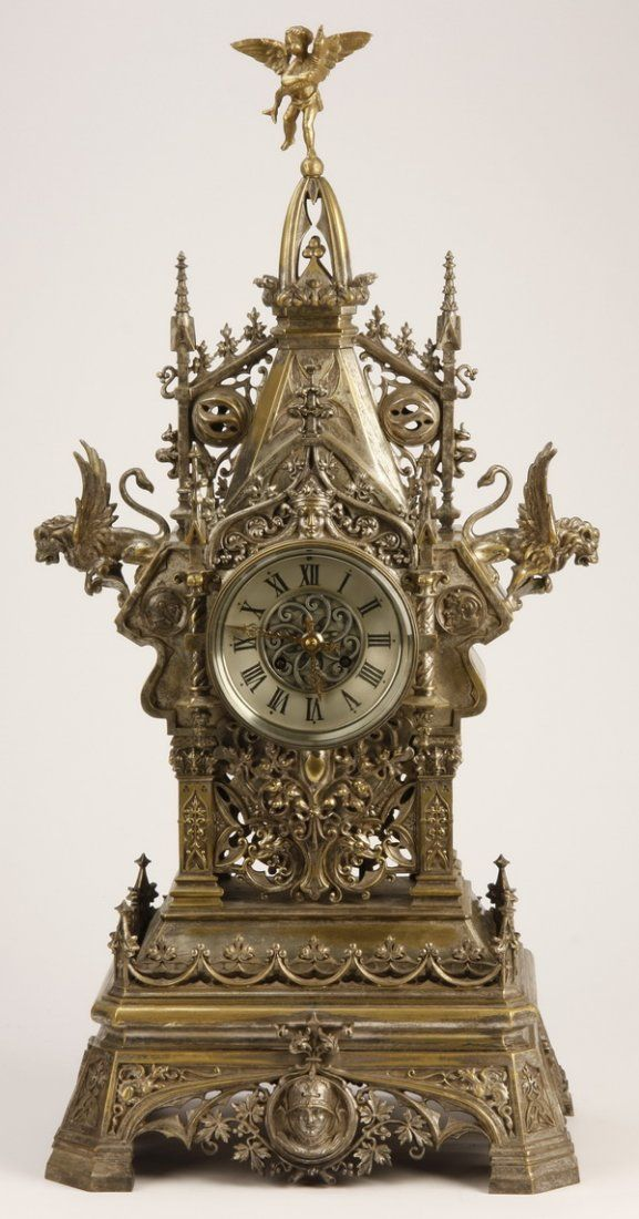 19th c. center-of-the-room bronze clock