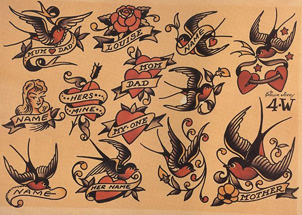 heart tattoo designs with banners and swallows - Google Search