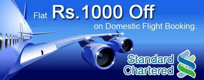 FLAT Rs. 1000 off on Domestic Flight Booking.  Use your Standard Chartered Card to avail these special offers. Use code :- FLYSTANC  View details - http://goo.gl/YFX2Q