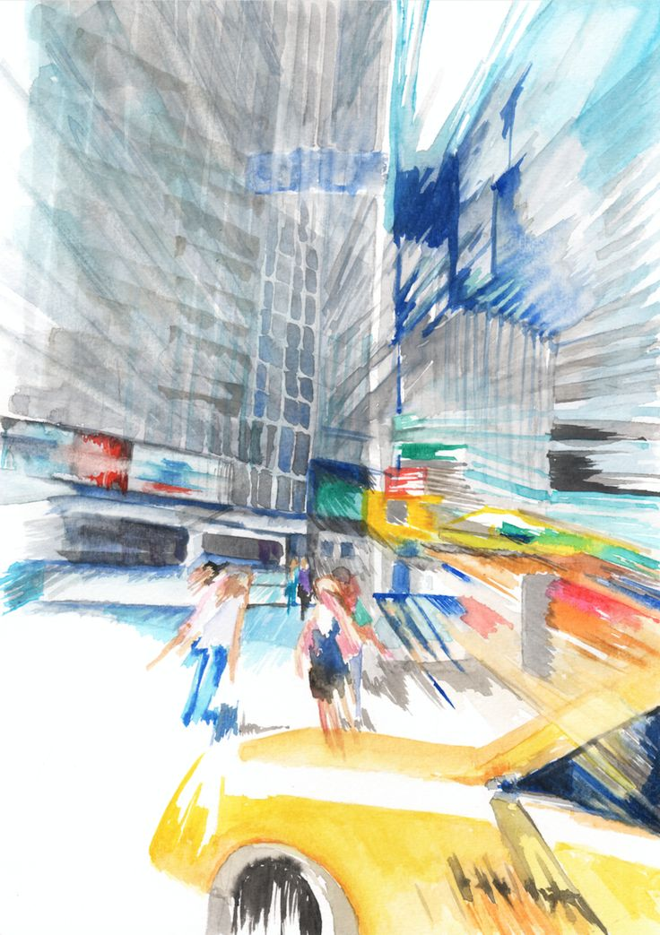 New York City Street #watercolor #painting #illustration #art #cityscape #urban #effect #abstraction