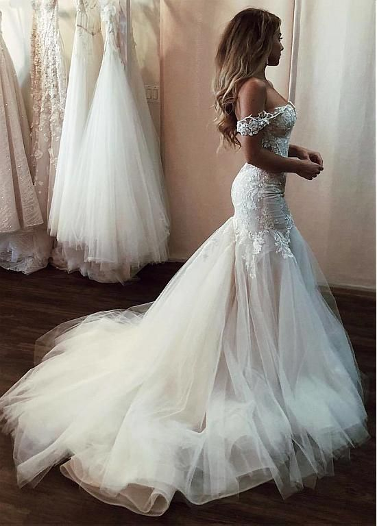 d13415117472 Buy discount Modern Tulle Off-the-shoulder Neckline Mermaid Wedding Dresses  With Beaded Lace Appliques at Dressilyme.com