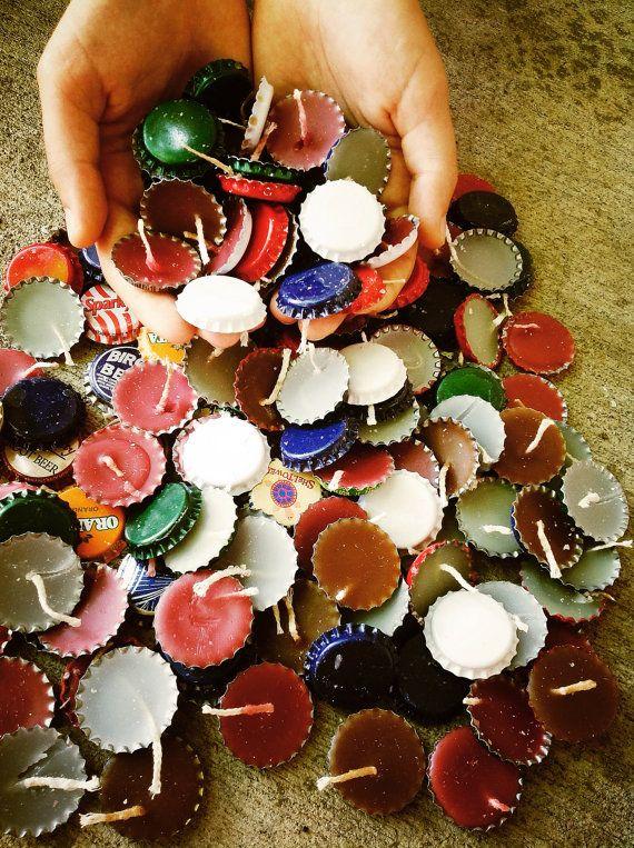 Handmade Beer Bottle Cap Candles by CraftsByMonika on Etsy