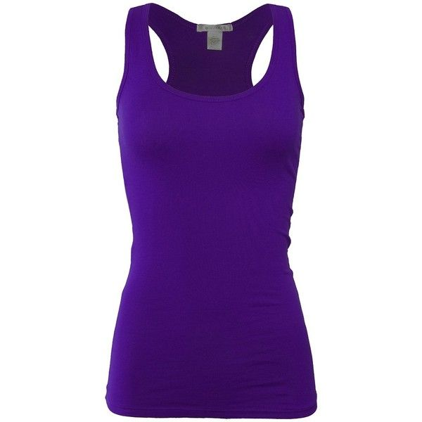 Bozzolo Women's Basic Cotton Spandex Racerback Solid Plain Fitted Tank... ($7.95) ❤ liked on Polyvore featuring tops, bozzolo tops, bozzolo tank, cotton spandex tops, purple tank and bozzolo