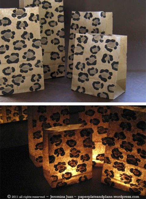 leopard print luminarias with potato stamps