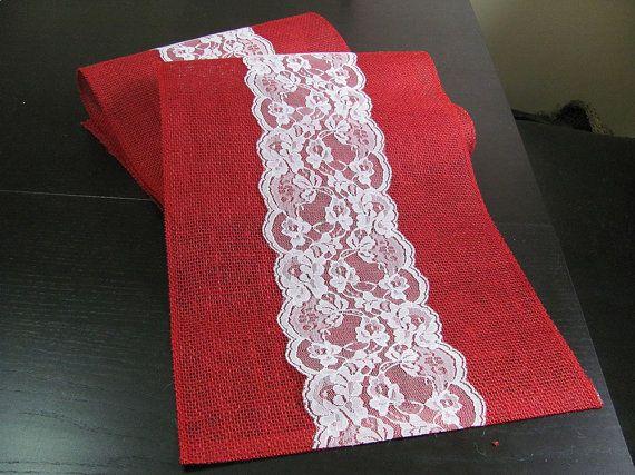 Red Burlap & Lace Table Runner Wedding / by SilverStarfishDesign, $9.00