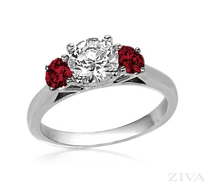 three stone diamond engagement ring with ruby sides - Ruby Wedding Ring