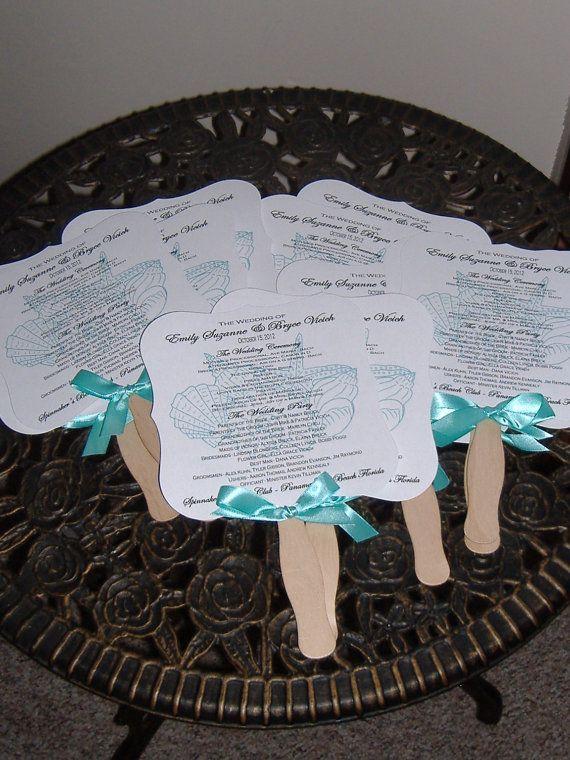 Wedding Fans, Beach Wedding, Seashells, Monogram Fan, Wedding Program Fan, Wedding Fan Program DEPOSIT