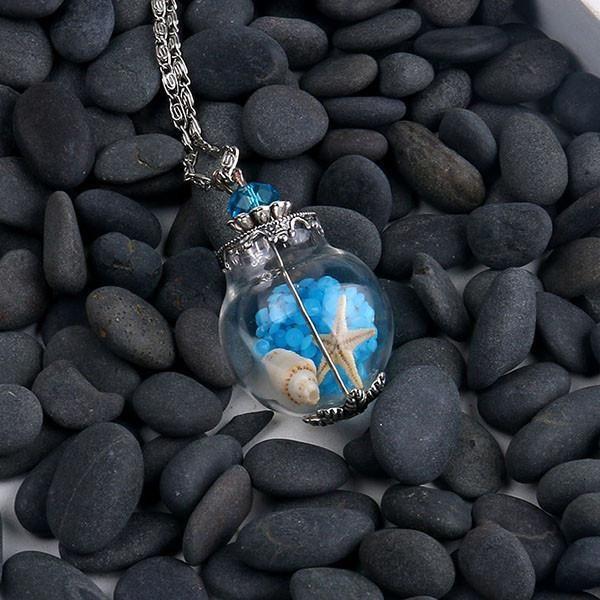 Handmade Glass Pendant Necklace Starfish