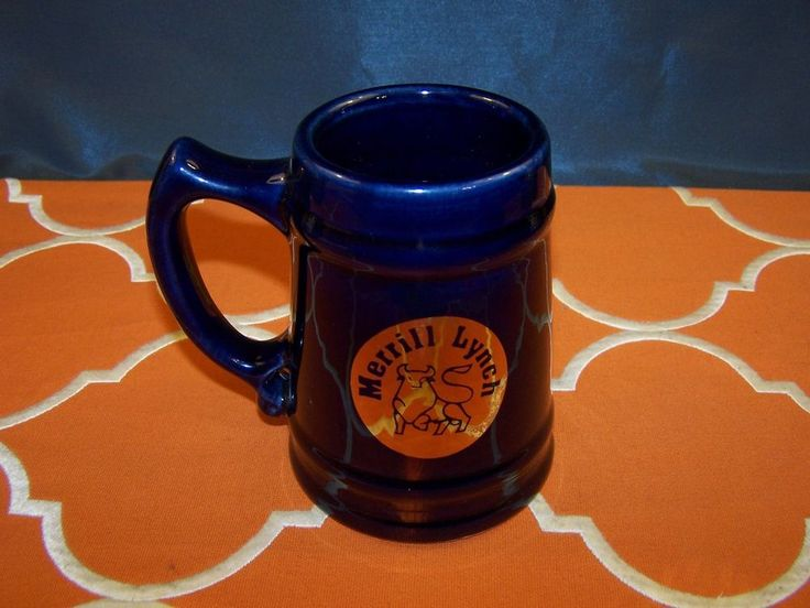 Merrill Lynch Coffee Cup Pair of Two Old Logo USA Navy Blue with Gold Vintage  | eBay