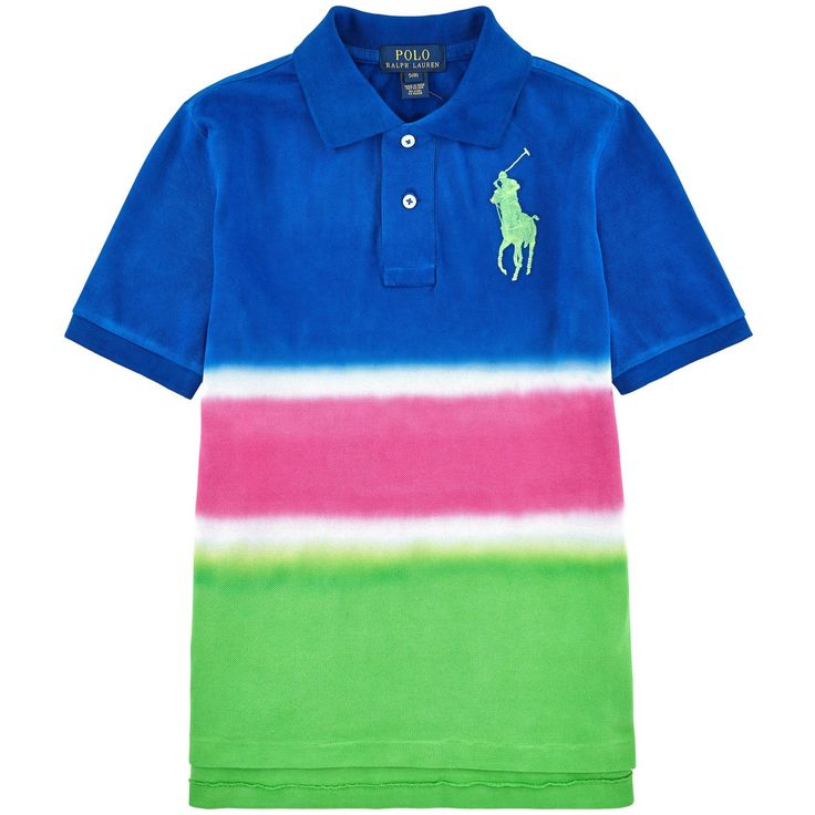 Ralph Lauren Boys Big Pony Dip Dyed Cotton Mesh Polo Shirt (3 3T). Dip-dyed to create a blurring of hues, this fun cotton mesh polo shirt is accented with Ralph Lauren's signature embroidered Big Pony. Ribbed polo collar Two-button placket Short sleeves with ribbed armbands Uneven vented hem Ralph Lauren's signature embroidered Big Pony accents the left chest Due to the special dip-dye process used to create the look of this garment, the color may rub off onto light-colored fabrics and...