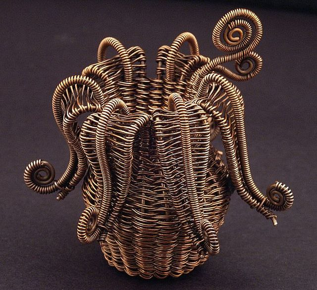 MaryTucker | 'Twined Flower Basket'. Copper wire