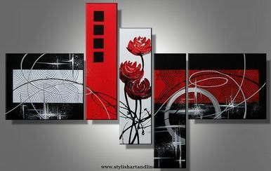 Red Rose, Silver Black Abstract