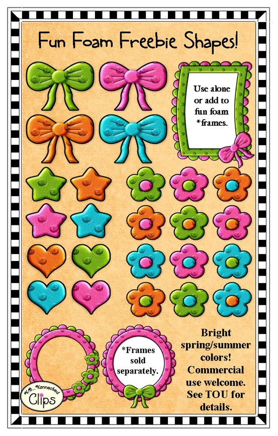 """Freebie! Fun Foam Shapes Use alone or add to """"Fun Foam"""" frames. Bright colors perfect for your spring and summer products. http://www.teacherspayteachers.com/Product/Freebie-Fun-Foam-Extras-Clip-Art-702003"""