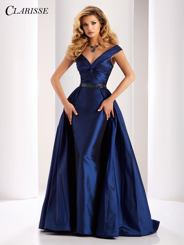 Clarisse Couture Prom Dress Taffeta gown that features off the shoulder straps, ruched detailing, embellished waistline and detachable skirt! COLOR: Navy, Red SIZE: 0-24 Find this show stopping prom and pageant gown by clicking the link below! http://clarisse.com/locator/index.php