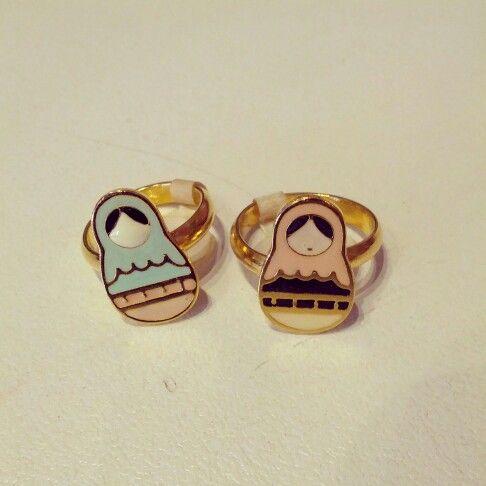 @thebunnyshoppe #thebunny #babushka #rings $20 #pink and #blue #ring #adjustable #pastel #foryourfinger #goldengirl #goldfinger #putababushkaringonit #doll #sweet