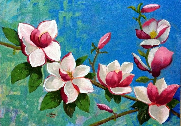 Art by Viorica Buga: Magnolia, oil on canvas ,50/40 cm
