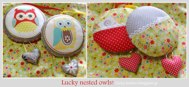 Lucky nested owls, sewing pillow with pocket!