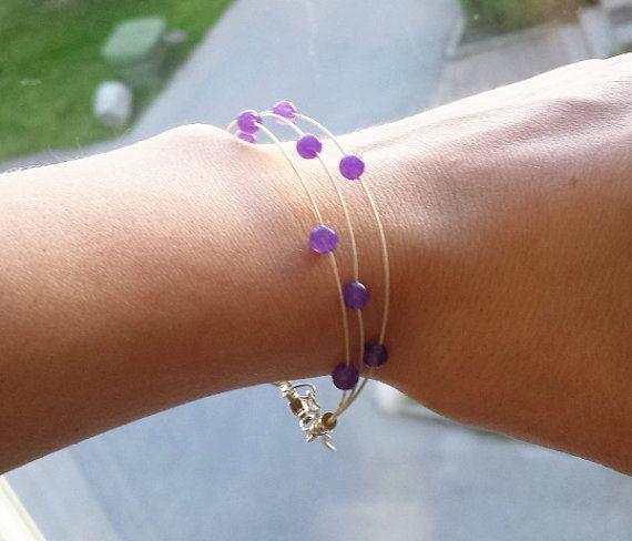 Amethyst bracelet Gemstone and sterling silver by Cicadella
