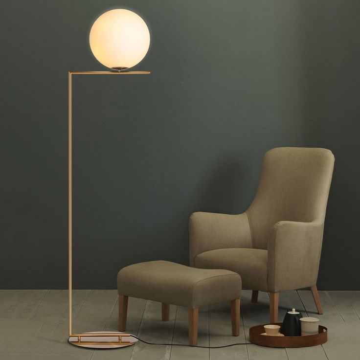 Cattel Contemporary Linear 1-Light Floor Lamp with Round Base in Brass - Floor Lamps - Table & Floor Lamps - Lighting