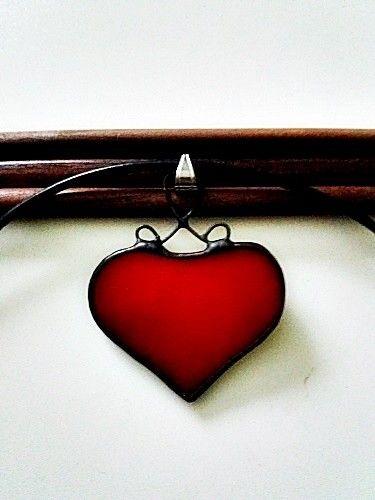 Wisior Szklane Serce , witraż , Tiffany