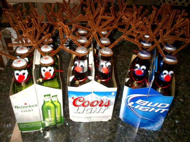 Turning a six pack into reindeer... Reinbeer. DIY fun Christmas gifts. Could be a cute addition to any guy's secret Santa gift.