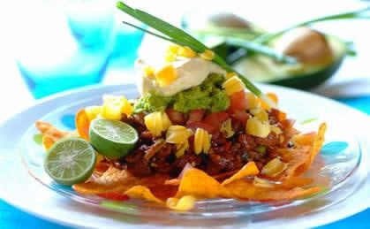 Tasty Ostrich Nachos - use lean ostrich meat, or minced beef or lamb.