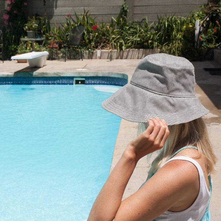 Women's Sun Hat, Wide Brim Floppy Summer Hat, Navy Denim Stripe by bluecorduroy on Etsy https://www.etsy.com/listing/190466077/womens-sun-hat-wide-brim-floppy-summer
