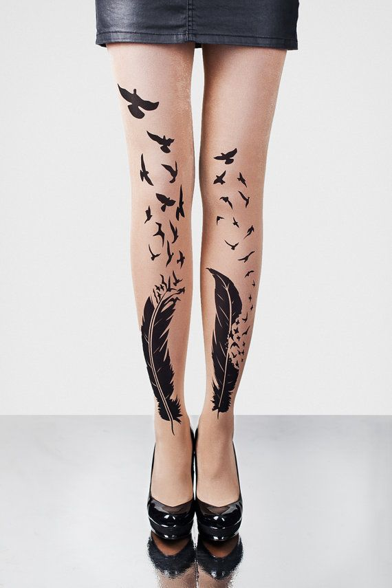 FEATHERS beige tights - hand printed, great design, creative patterns