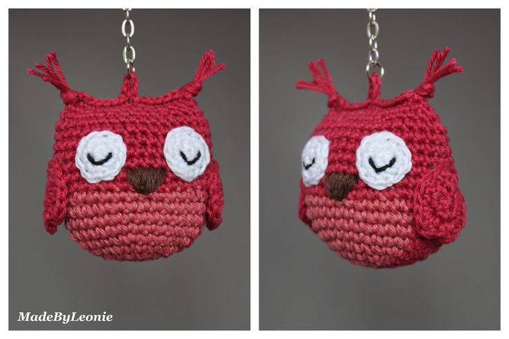 Uil Sleutelhanger Uiltje Crochet Haken MadeByLeonie Keychain Hanger Amigurumi