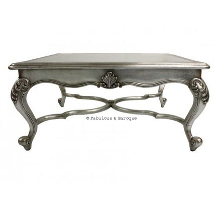 Lila Shabby Chic Glass Coffee Table Silver Leaf