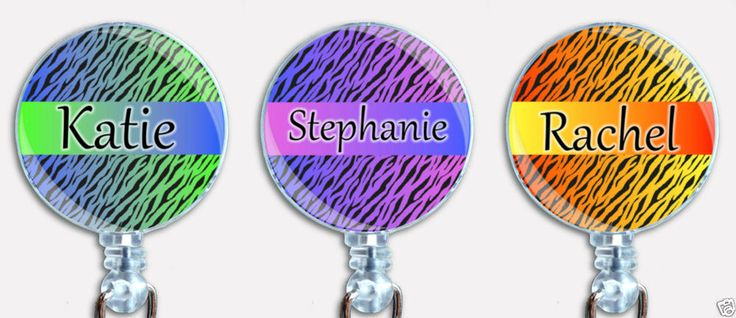Personalized Custom Gradient Zebra Stripes Badge Reel Retractable ID Name Holder #Handmade
