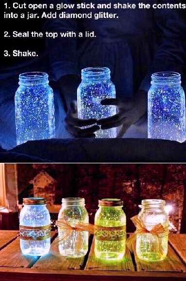 So cool! A wedding maybe? You just get a mason jar, break a glow stick, and empty it in. Add glitter and violá! Magic!