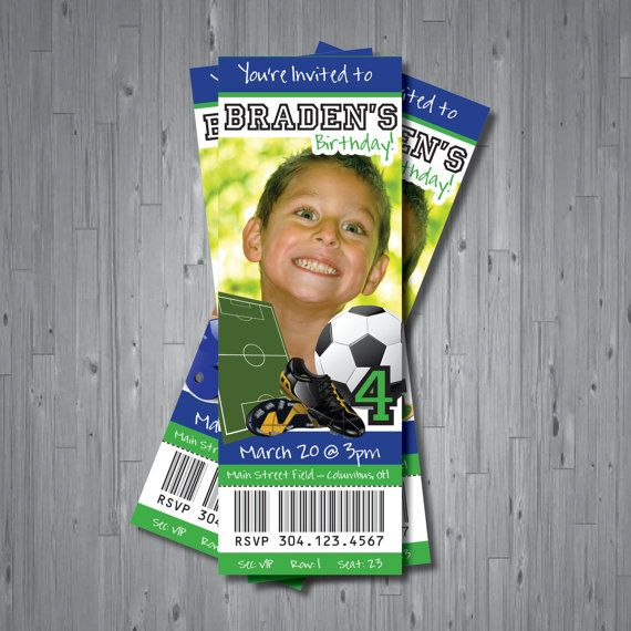 SOCCER TICKET birthday invitation  DIGITAL file  by uniquewv, $10.50