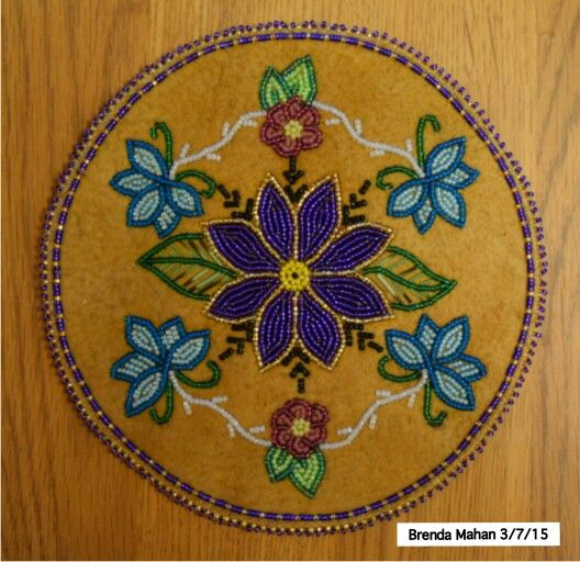 Athabascan beadwork by Brenda Mahan, 3/7/15, on moosehide