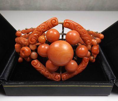 Estate Antique 14K Gold AND Carved Coral Bracelet