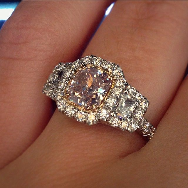 Uneek Engagement Ring with pink cushion cut center stone