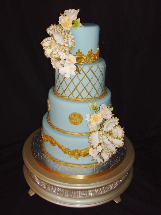 light blue and gold wedding cakes light blue and gold cake wedding cake blue 16847