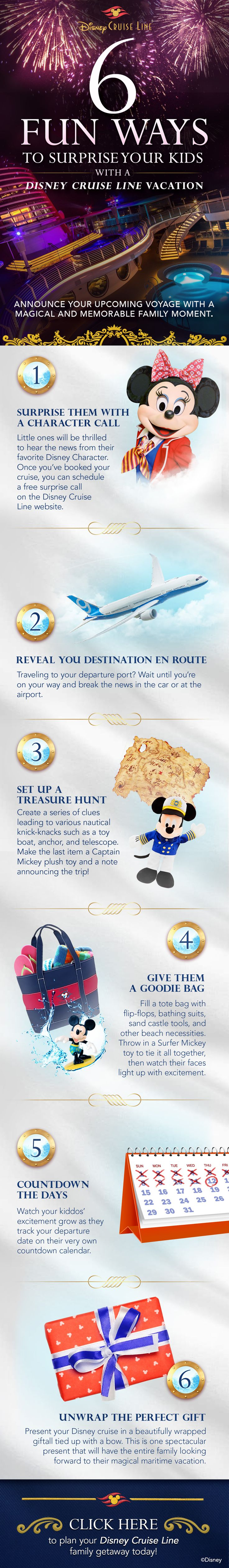 Give the gift of a Disney Cruise vacation with these fun ways to surprise your kids!