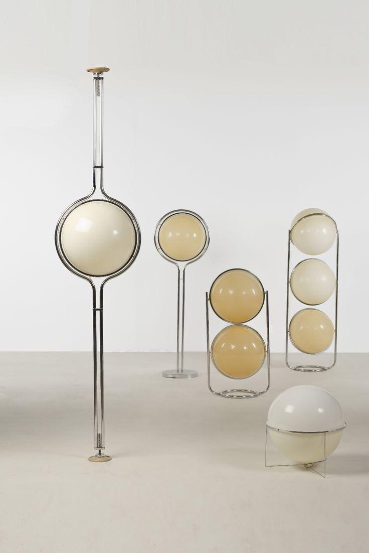 Garrault-Delord design (1970-1977), Ensemble de cinq luminaires, Acier, PMMA, Date de création : 1971,