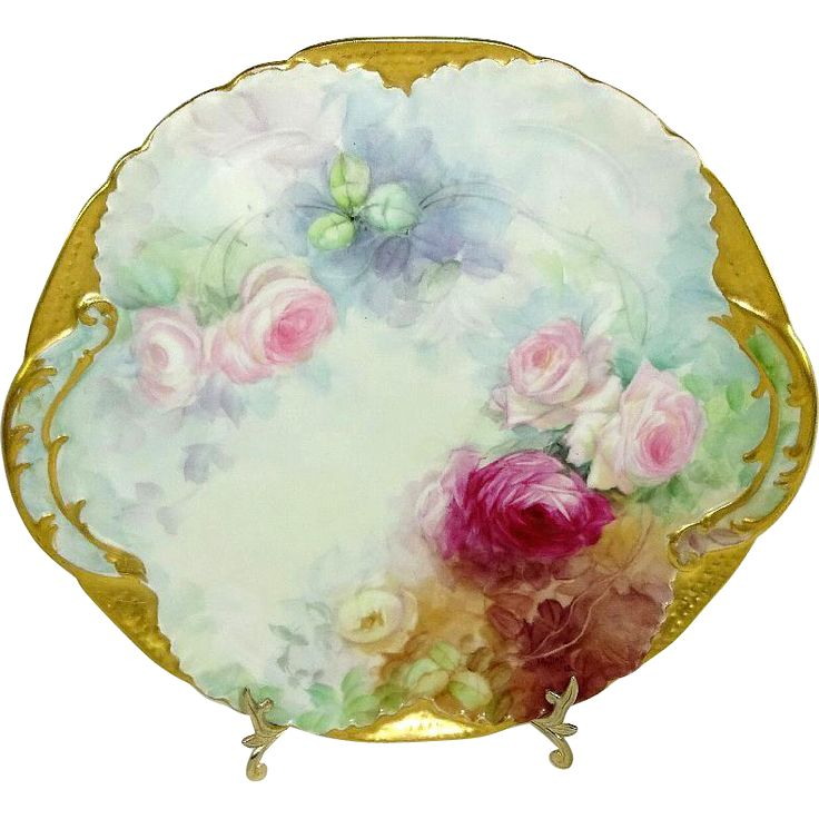 Antique French Limoges Plate Hand Painted Roses Signed Dated 1912 Up for your consideration is this absolutely, stunning, DC Limoges plate featuring a
