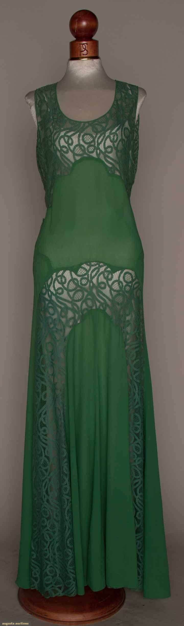 GREEN SILK & LACE GOWN, MID 1930s Silk crepe, bias piecing, sleeveless, CB & F panels of green tape lace, attached crepe back belt & halter | Augusta Auctions