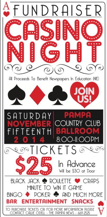 Poster & ticket design for Fundraiser event to raise money for Newspapers In Education (NIE) created and designed by Holley Bimson for The Pampa News.