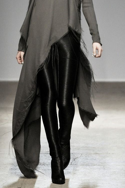 Asymmetrical top & black leather jeans; fashion details // Gareth Pugh A/W 2010