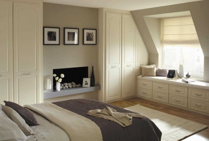 Contemporary White Fitted Bedroom Furniture With Fireplace Install Center and…