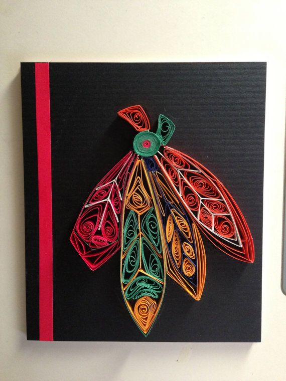 Paper Quilled Chicago Blackhawk's Indian by KaiandTaylorsCorner, $25.00