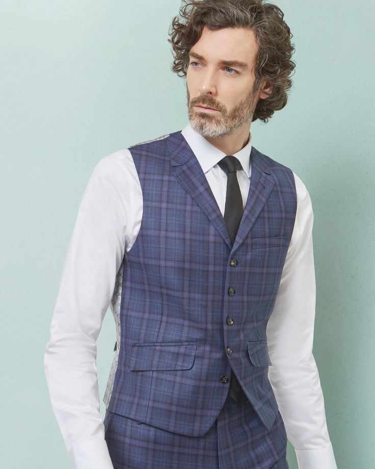 Sterling checked wool waistcoat - Blue   Suits   Ted Baker ROW Around $160.